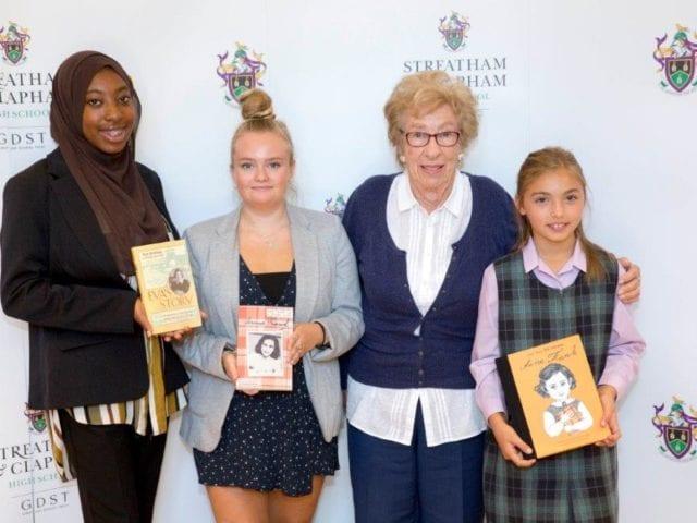 SCHS Head Girl Halimah Salami, Hannah Webb, Eva Schloss, Annabelle Solari-Masson